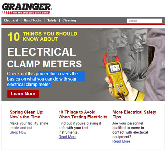 sample b2b email newsletter example, grainger