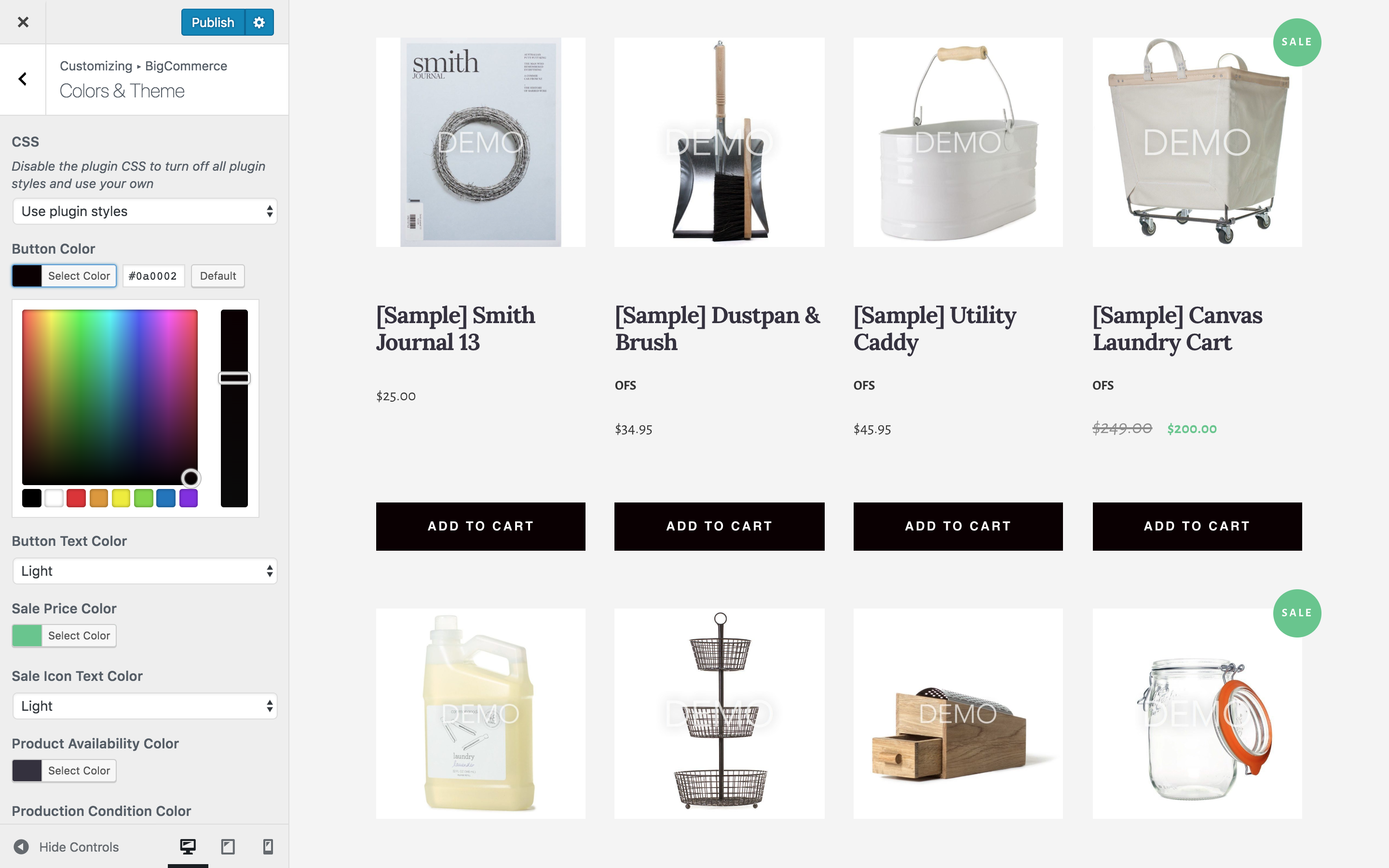 BigCommerce for Wordpress product customizer