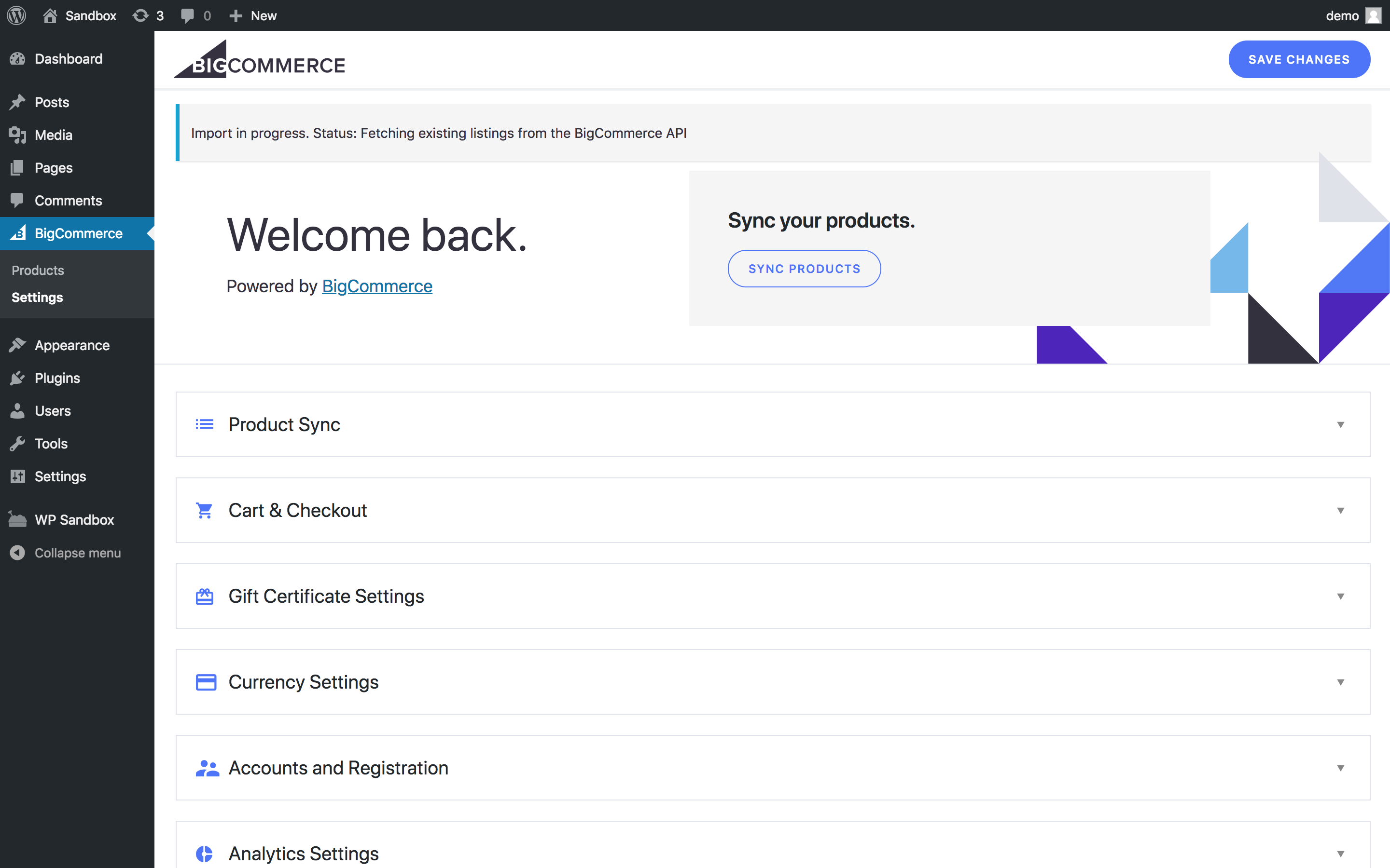 BigCommerce for Wordpress plugin dashboard