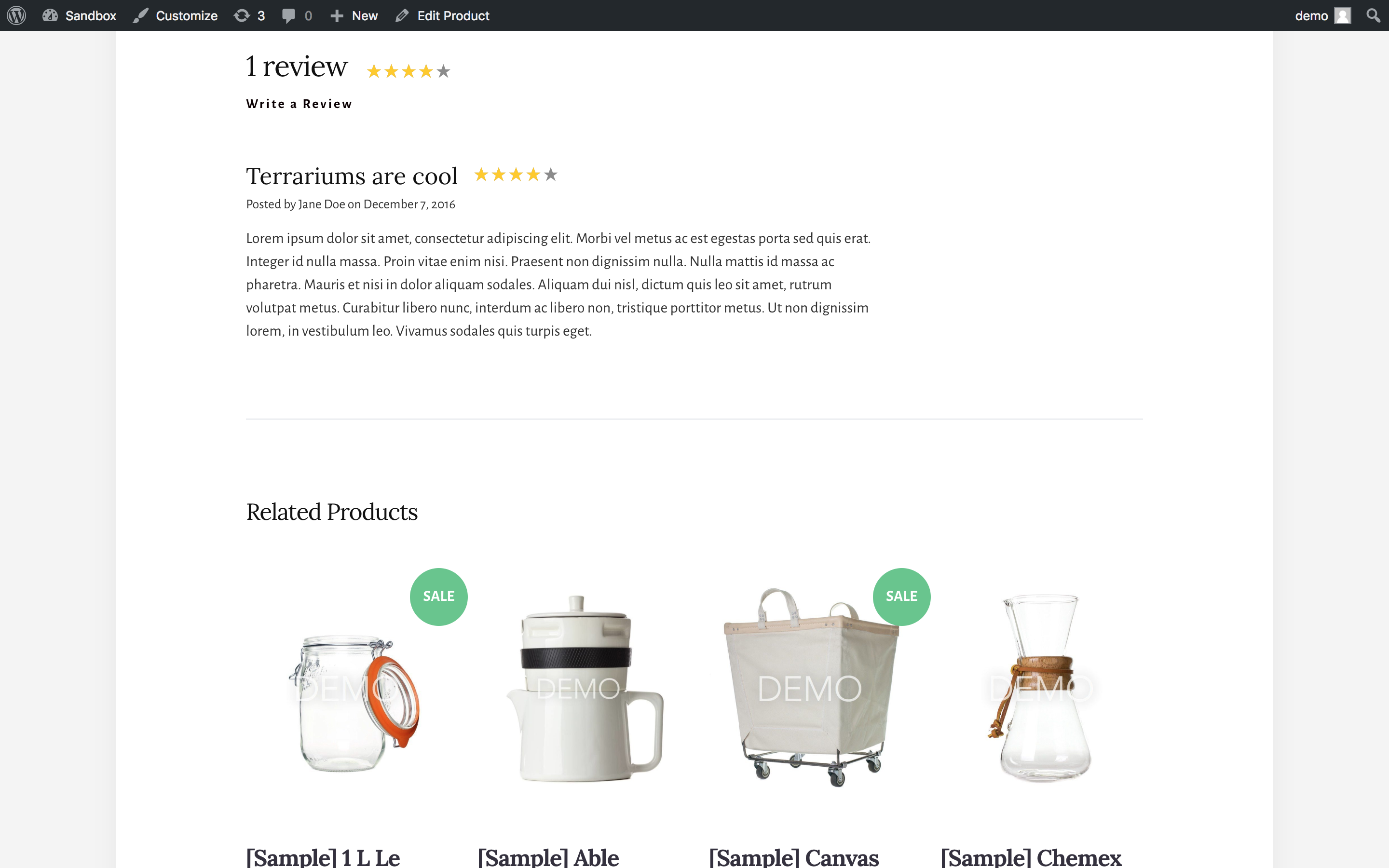 BigCommerce for WordPress plugin product reviews