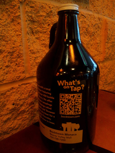 Bocktown craft beer growler with QR code