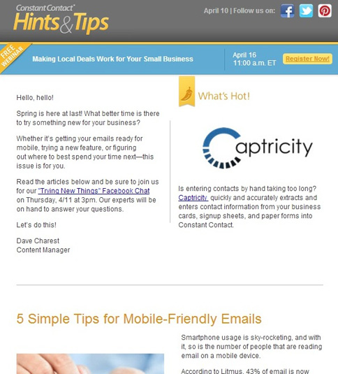 Constant Contact Hints and Tips email newsletter