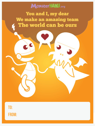 Monster Haiku Valentine's Day card