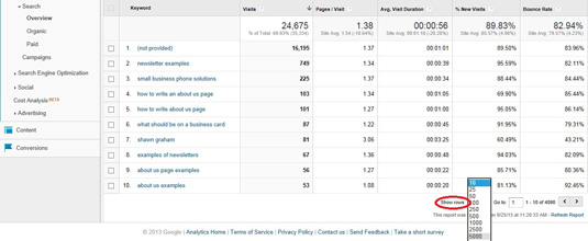 Google Analytics Search Overview Show Rows
