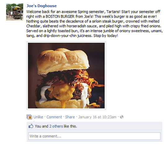 Mouth-watering Facebook small business status update