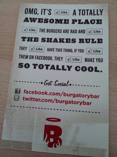 Burgatory social media marketing postcard