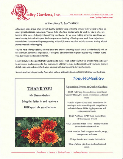 How to say thank you to your small business customers small quality gardens direct mail marketing letter expocarfo Gallery