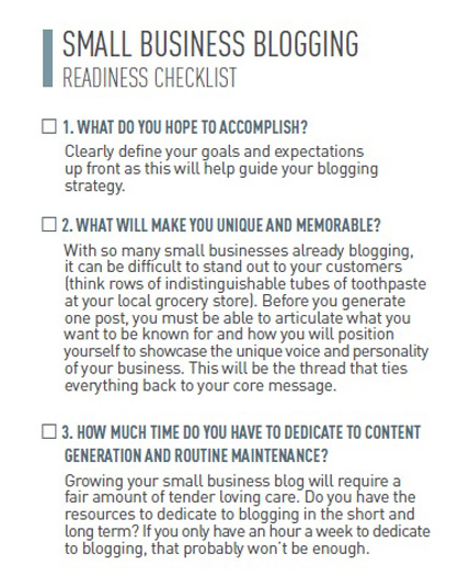 small business blogging checklist