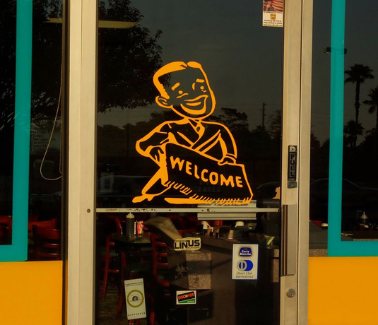 Small business welcome sign