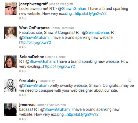 Twitter praise for my new small business marketing website