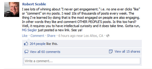 Facebook status update by Robert Scoble on social engagement