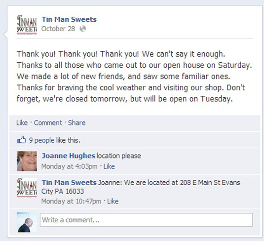 Tin Man Sweets Facebook status update thanking their customers