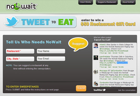 nowait tweet to eat twitter marketing campaign